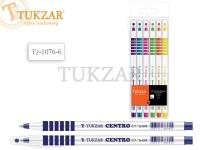 Набор шариковых ручек: чернила на масляной основе, белый пластиковый корпус, резиновый держатель (кольца), ассорти 6 цветов