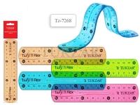 Линейка пластиковая гибкая 15 см, 4 цвета в ассортименте, NEW
