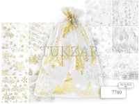 Мешок подарочный текстильный ОРГАНЗА, белый цвет, золото+серебро, 28х38 см NEW