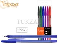 Набор шариковых ручек: матовый прозрачный корпус, 6 цветов